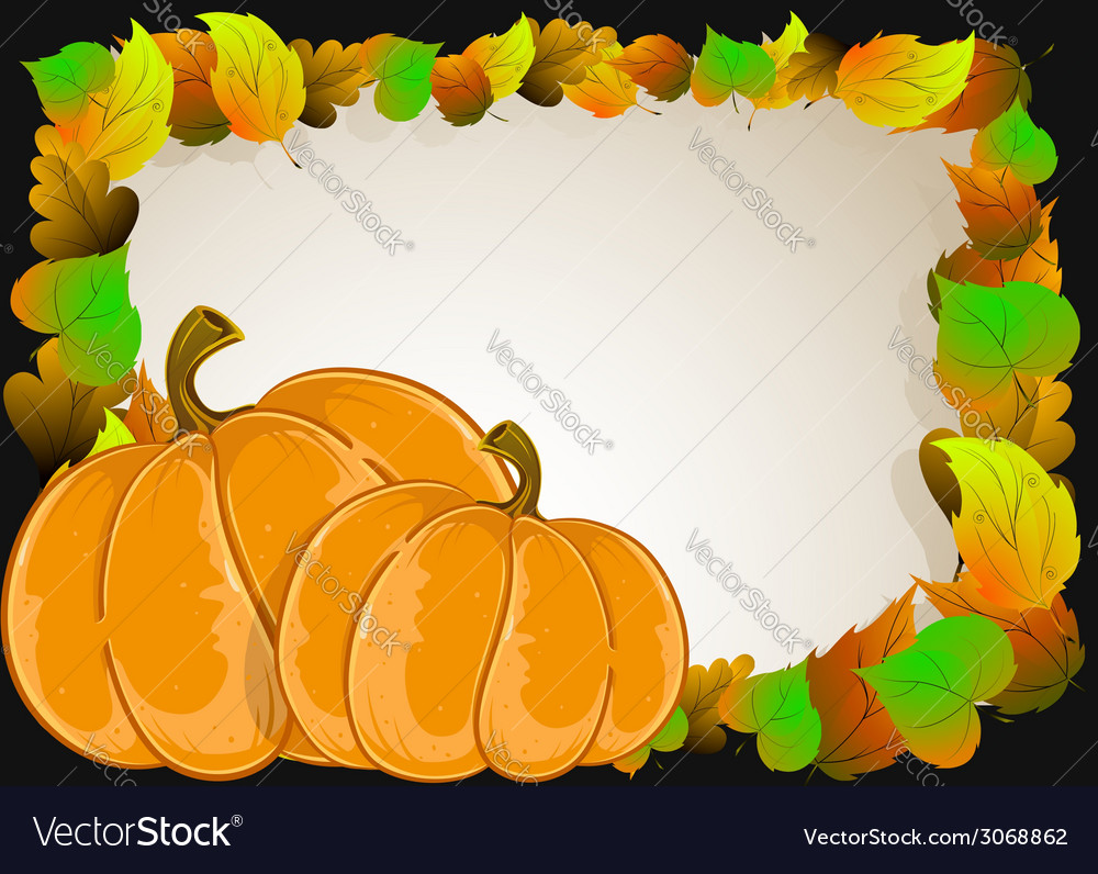 Pumpkins with leaves vector | Price: 1 Credit (USD $1)