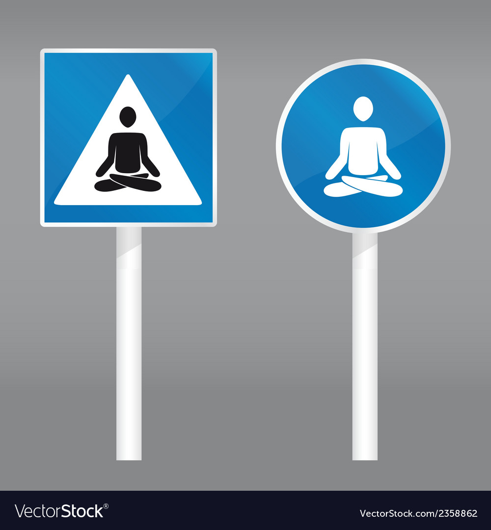 Road sign with meditating person vector | Price: 1 Credit (USD $1)