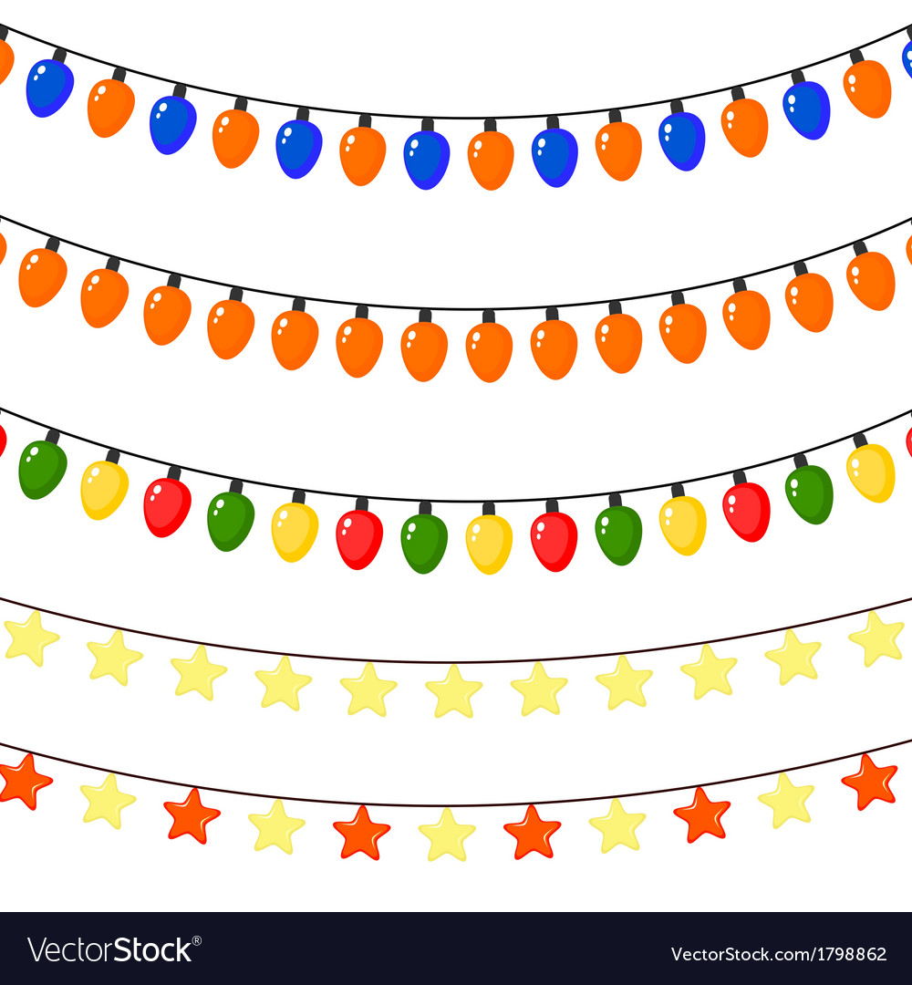 Set of christmas garlands of stars and lanterns vector | Price: 1 Credit (USD $1)