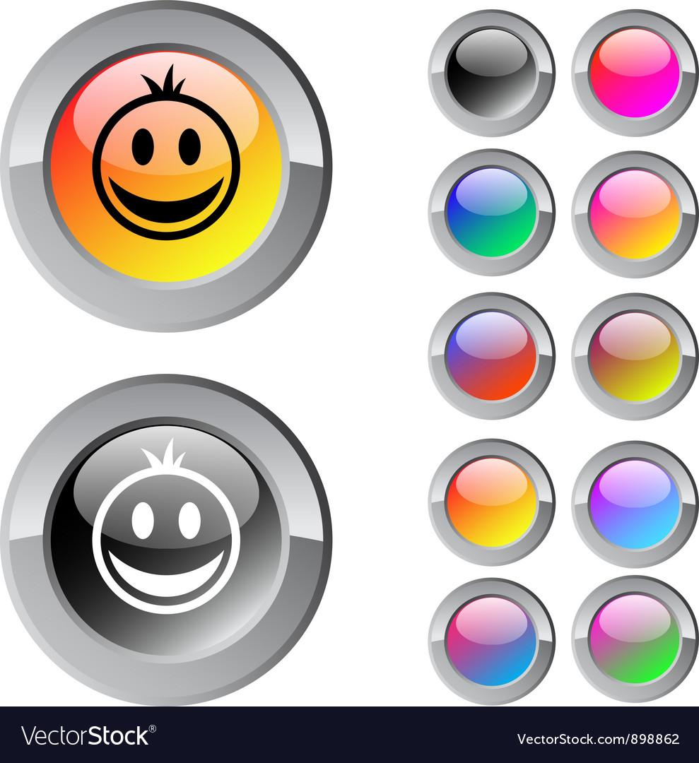 Smiley multicolor round button vector | Price: 1 Credit (USD $1)