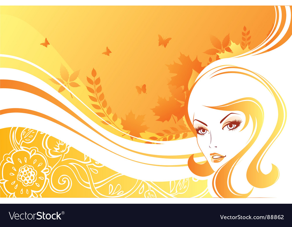 White hair leaf vector | Price: 1 Credit (USD $1)