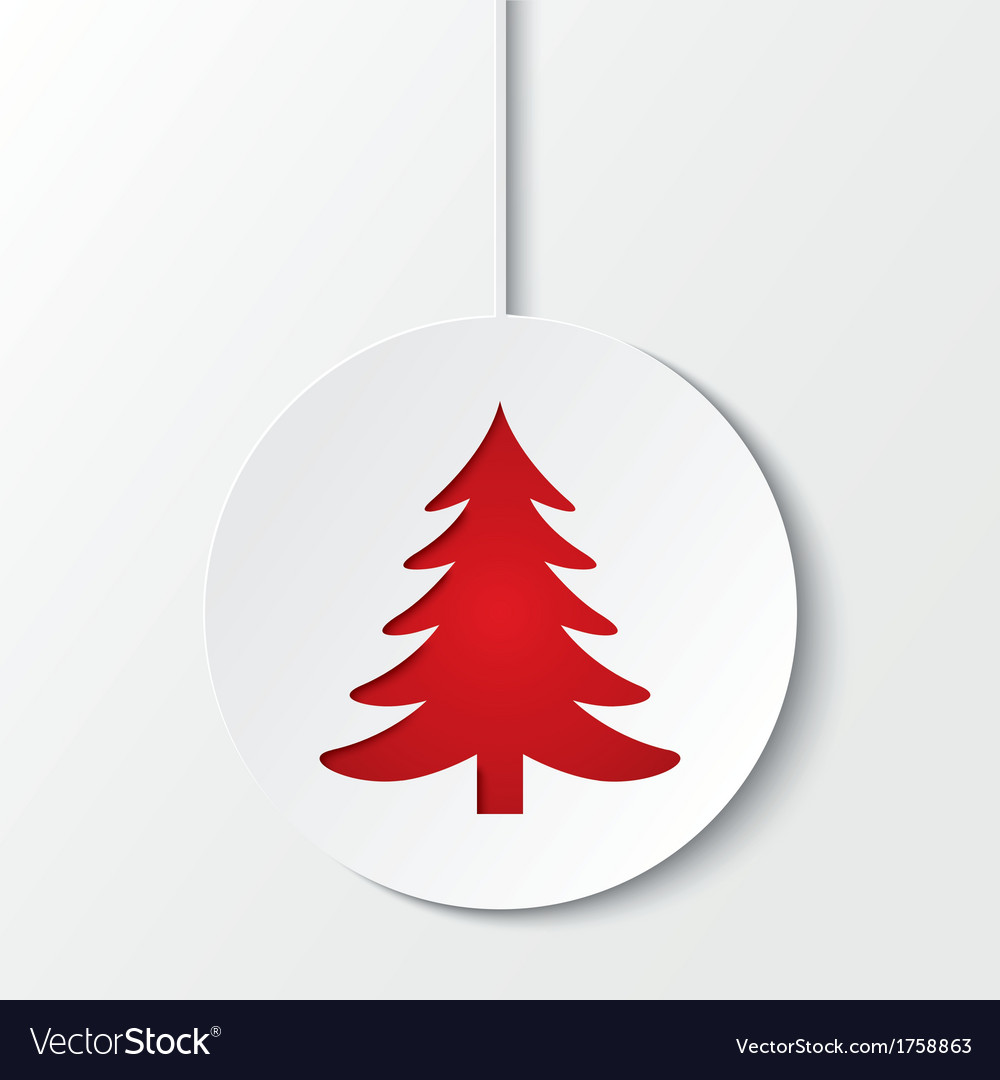 Christmas ball with christmas tree cut the paper vector | Price: 1 Credit (USD $1)