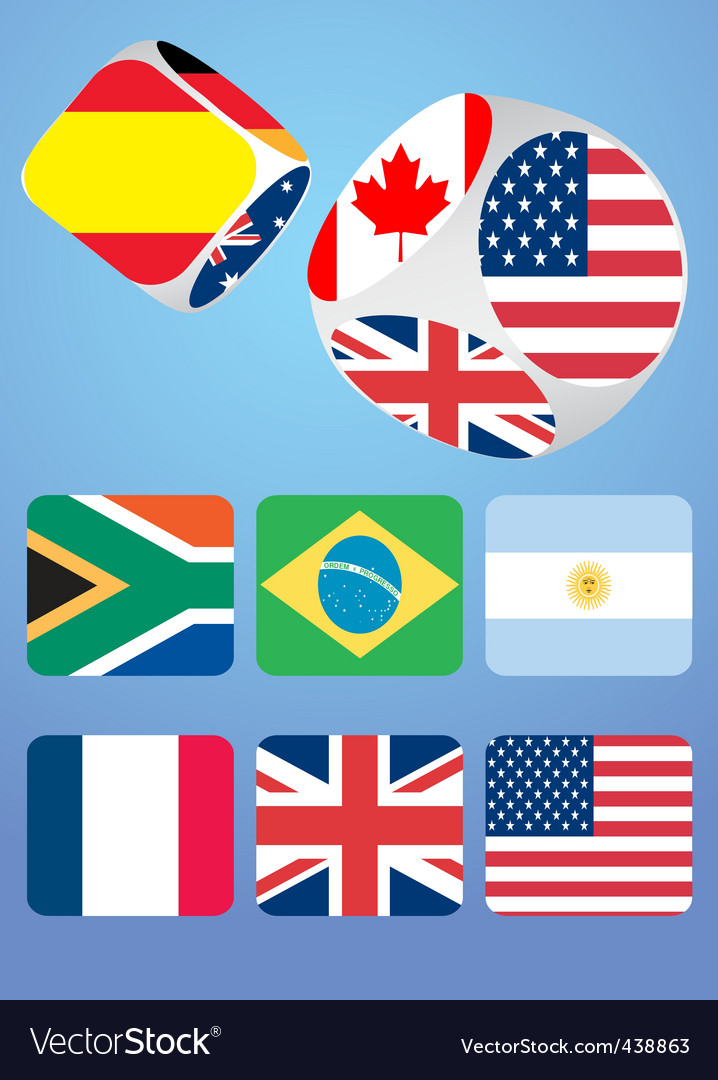 Dice with national flags vector | Price: 1 Credit (USD $1)