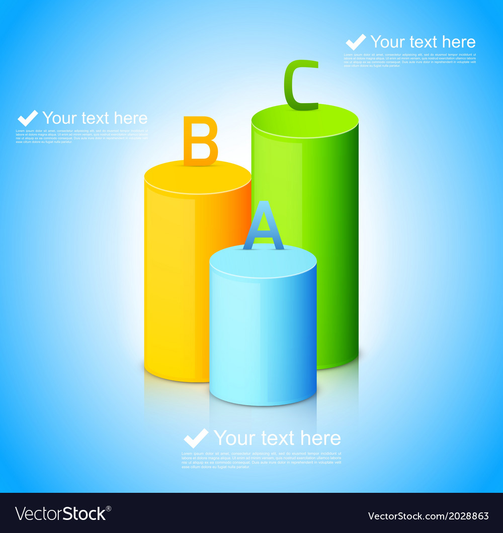 Infographic template with colorful cylinders vector | Price: 1 Credit (USD $1)
