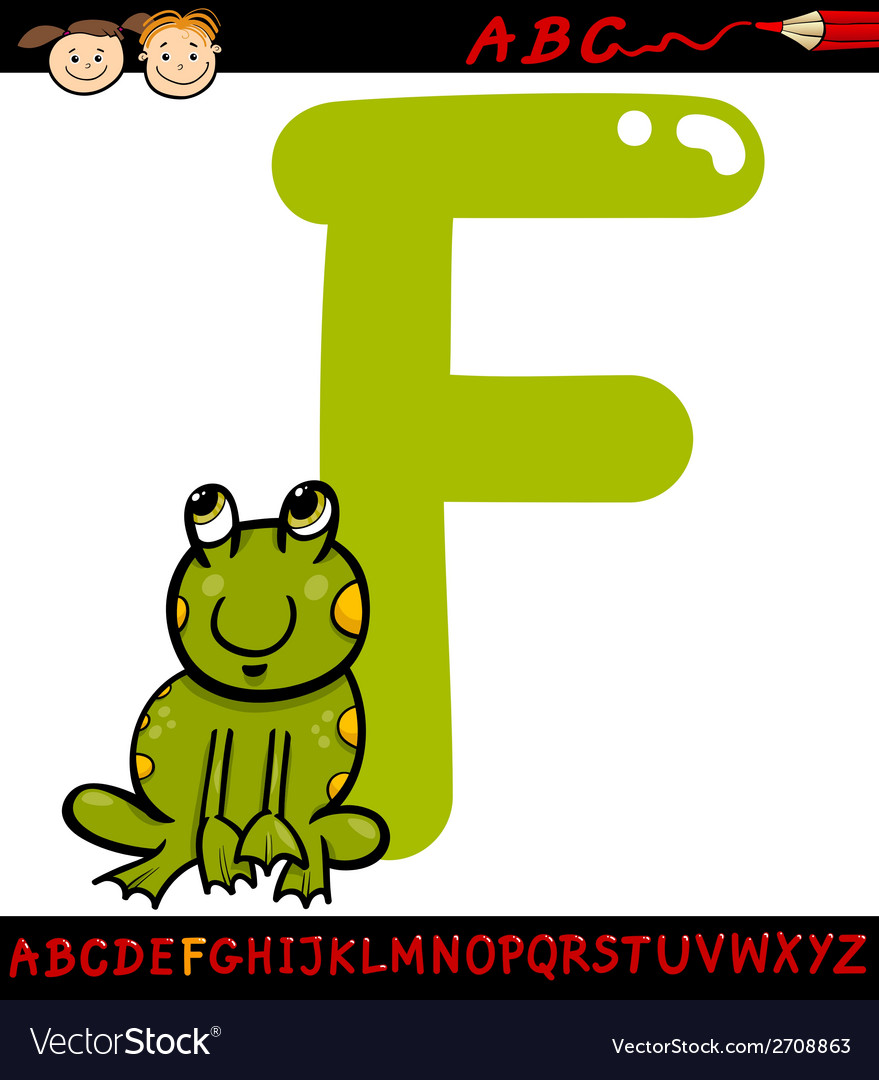 Letter f for frog cartoon vector | Price: 1 Credit (USD $1)