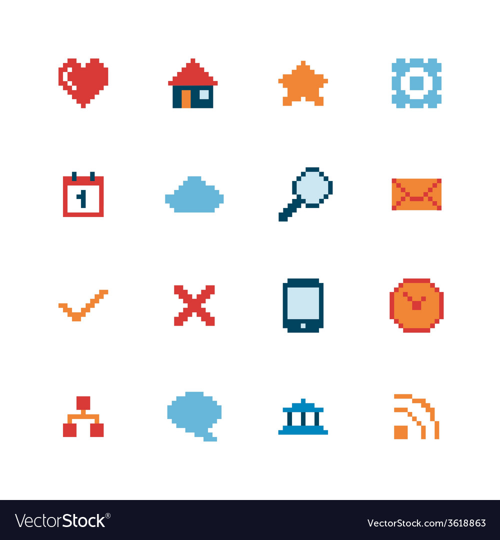 Pixel web icons set vector