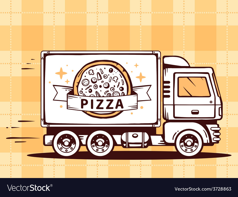 Truck free and fast delivering pizza to c vector | Price: 1 Credit (USD $1)