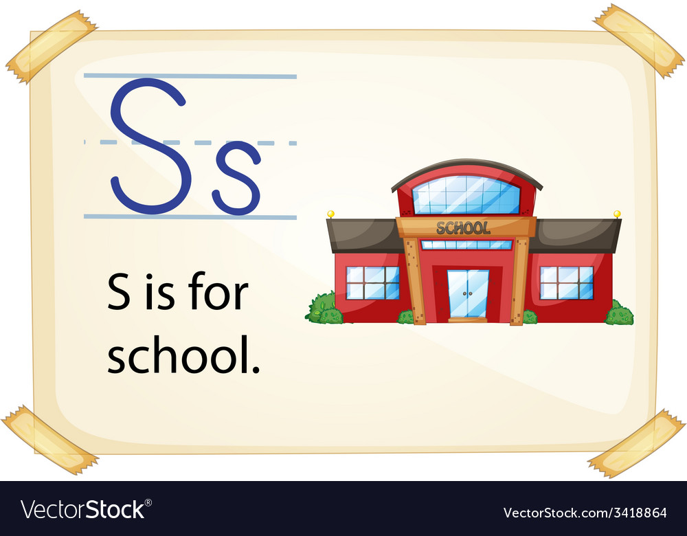 A letter s for school vector | Price: 1 Credit (USD $1)