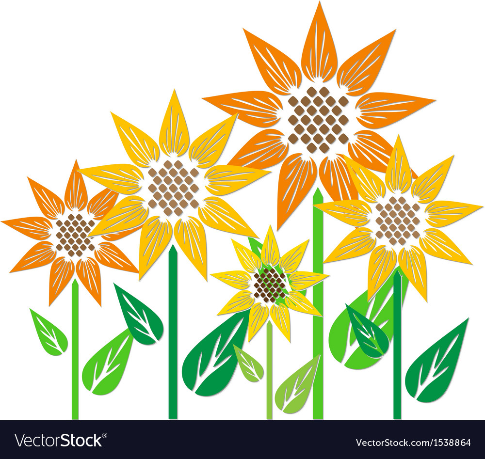 Abstract sunflowers vector | Price: 1 Credit (USD $1)