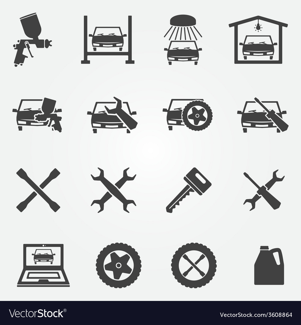 Auto service and repair icon set vector | Price: 1 Credit (USD $1)