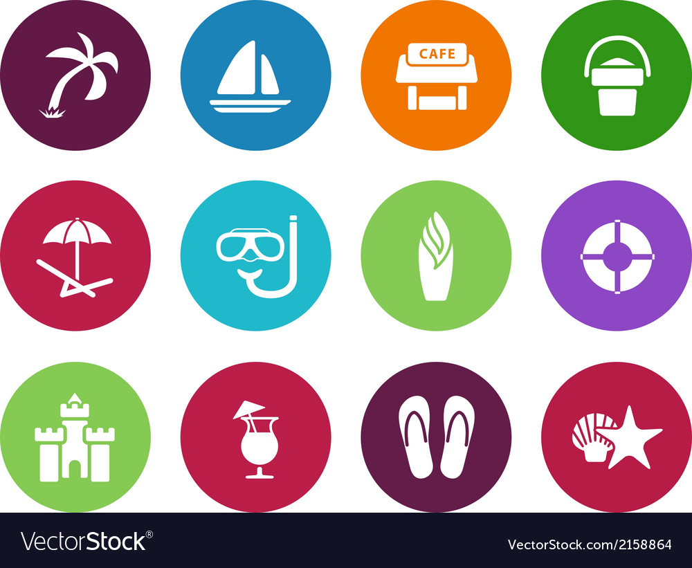 Beach circle icons on white background vector | Price: 1 Credit (USD $1)