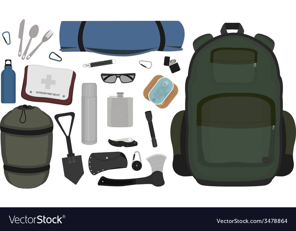Camping set no outlines vector | Price: 1 Credit (USD $1)