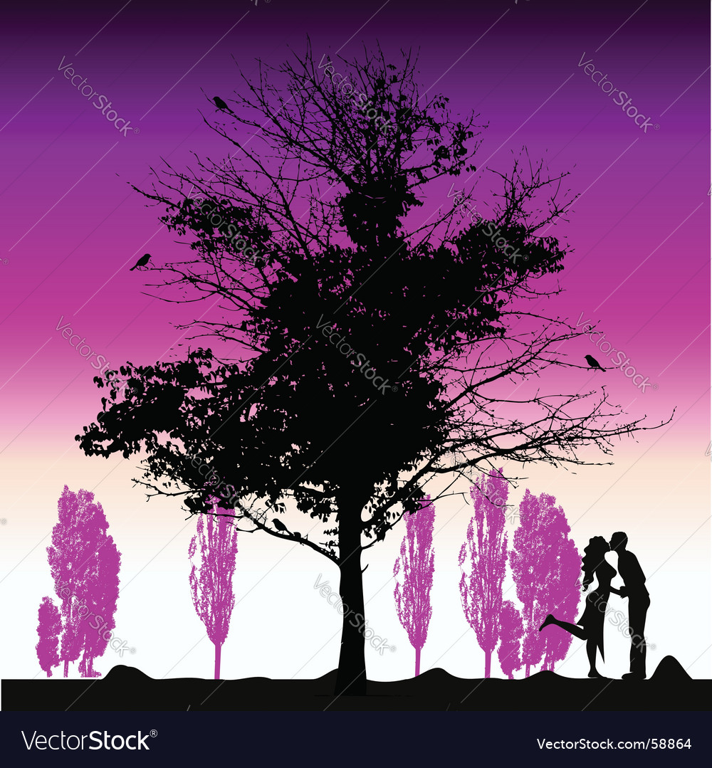 Couple silhouette big tree old vector | Price: 1 Credit (USD $1)