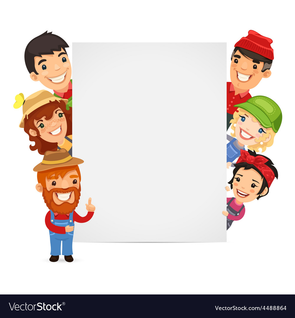 Farmers presenting empty vertical banner vector   Price: 3 Credit (USD $3)