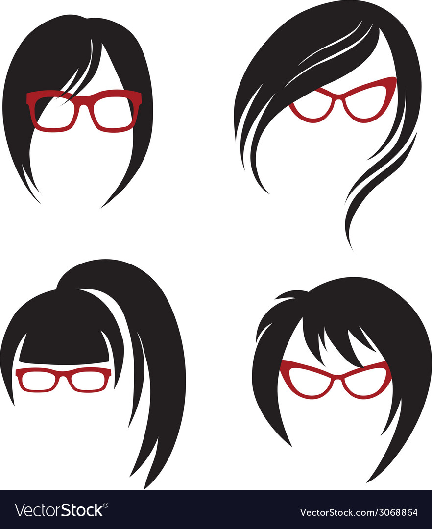 Girl glasses 1 2 vector | Price: 1 Credit (USD $1)