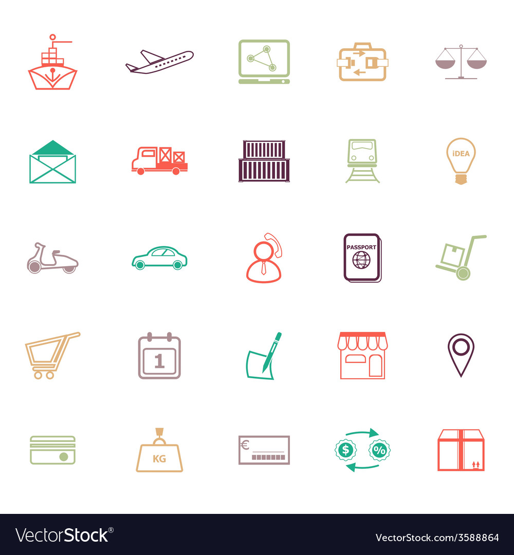 International business line icons flat color vector | Price: 1 Credit (USD $1)