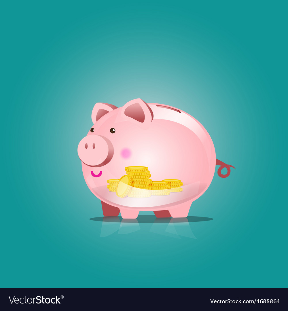 Piggy bank icon with blank vector | Price: 1 Credit (USD $1)