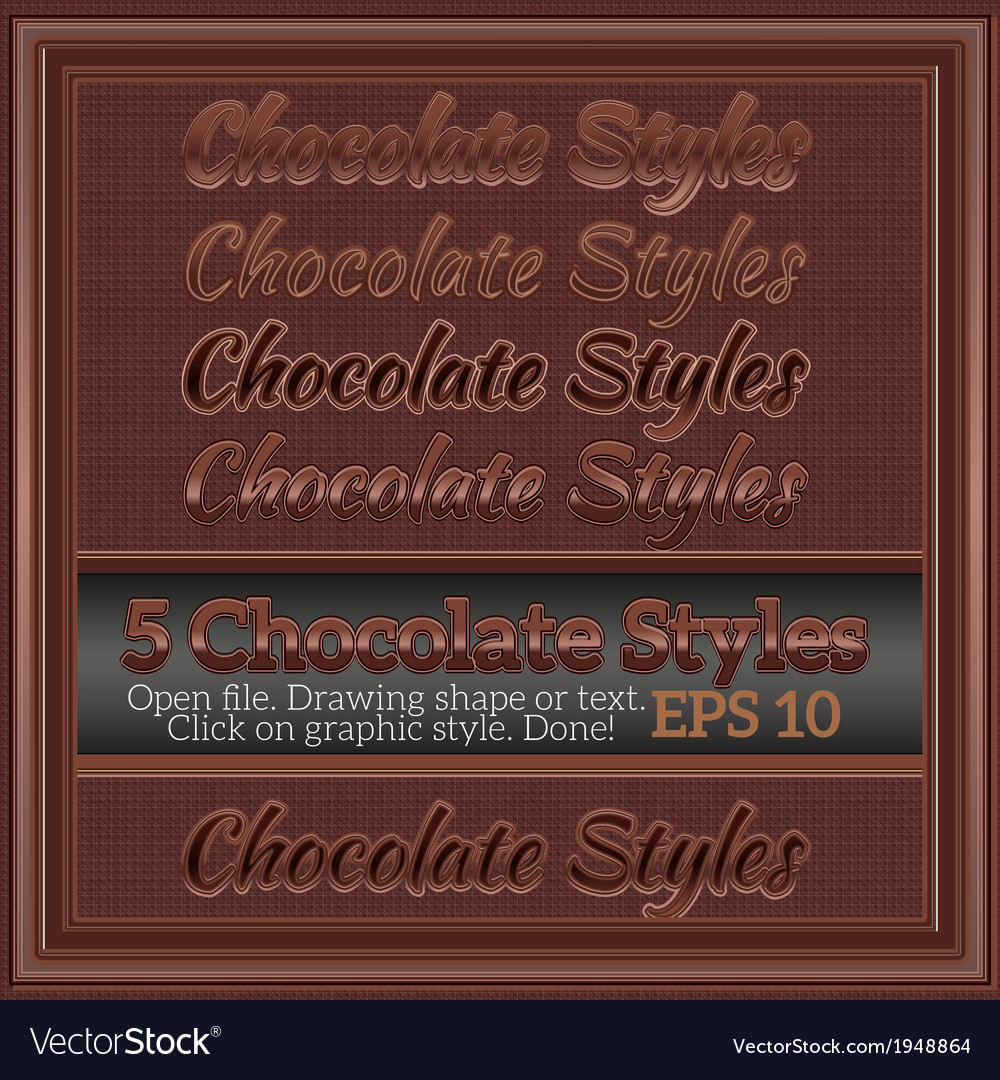 Set of sweet chocolate graphic styles for design vector | Price: 1 Credit (USD $1)
