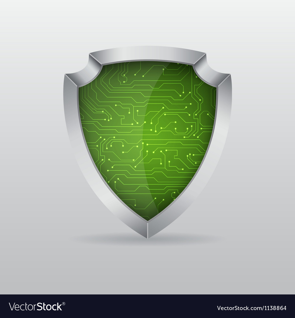 Shield with microchip vector | Price: 1 Credit (USD $1)