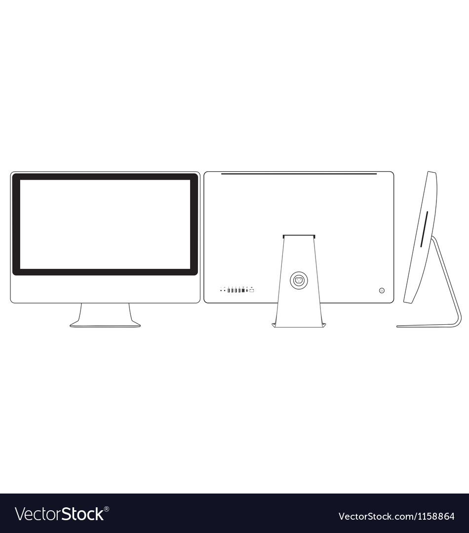 Sketch line drawing of a computer vector | Price: 1 Credit (USD $1)