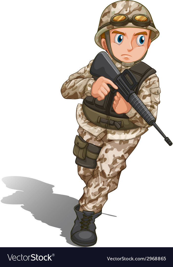 A brave soldier with a gun vector | Price: 1 Credit (USD $1)