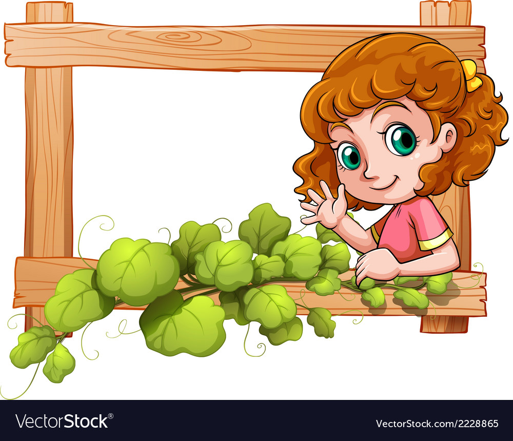 A frame with a cute young girl vector | Price: 1 Credit (USD $1)
