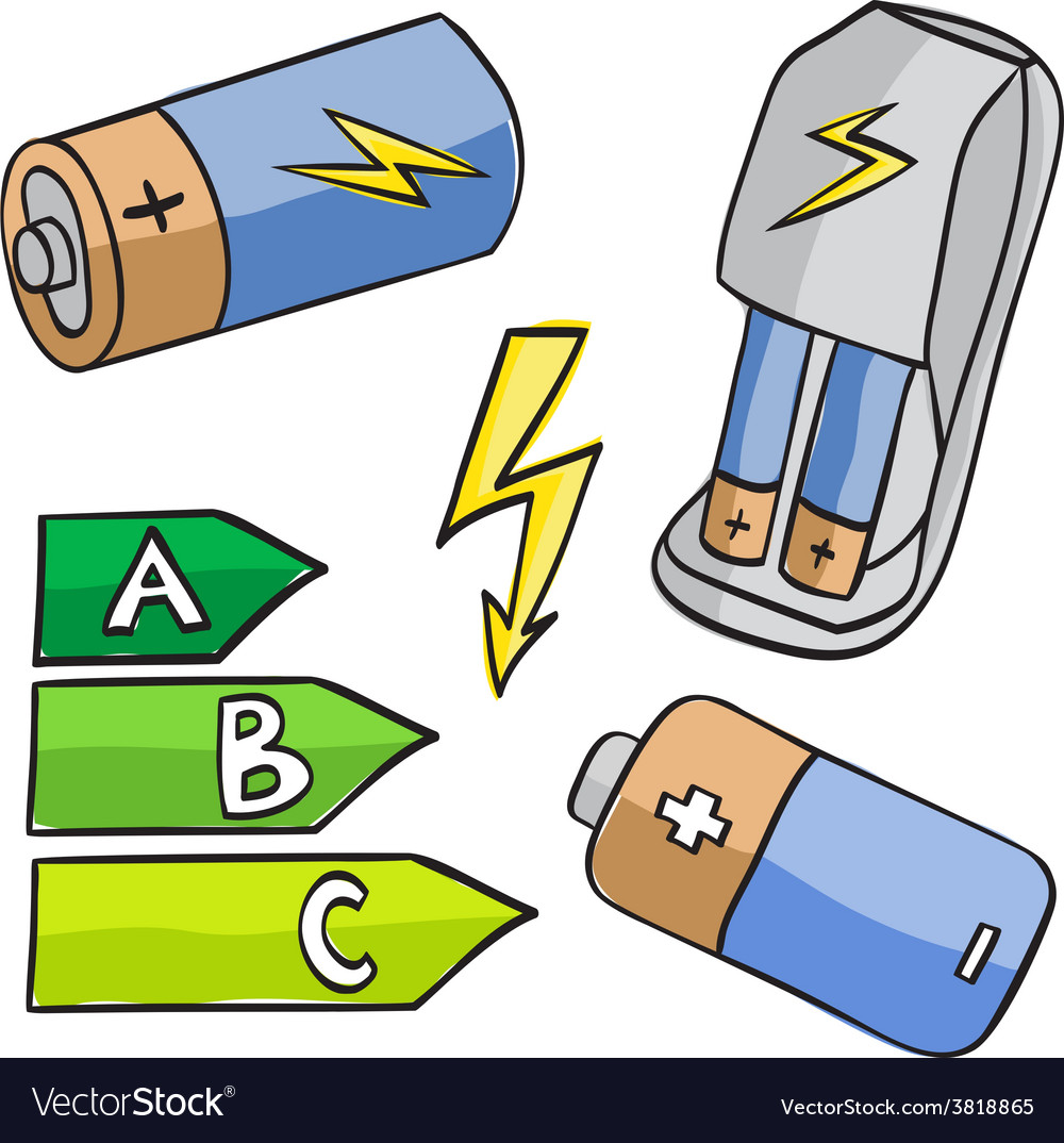 Batteries and energetic classes vector | Price: 1 Credit (USD $1)