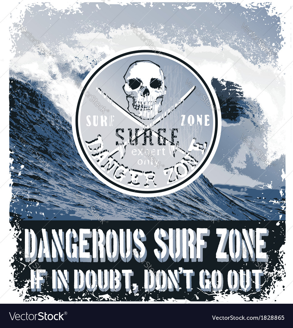 Danger surf zone vector | Price: 1 Credit (USD $1)