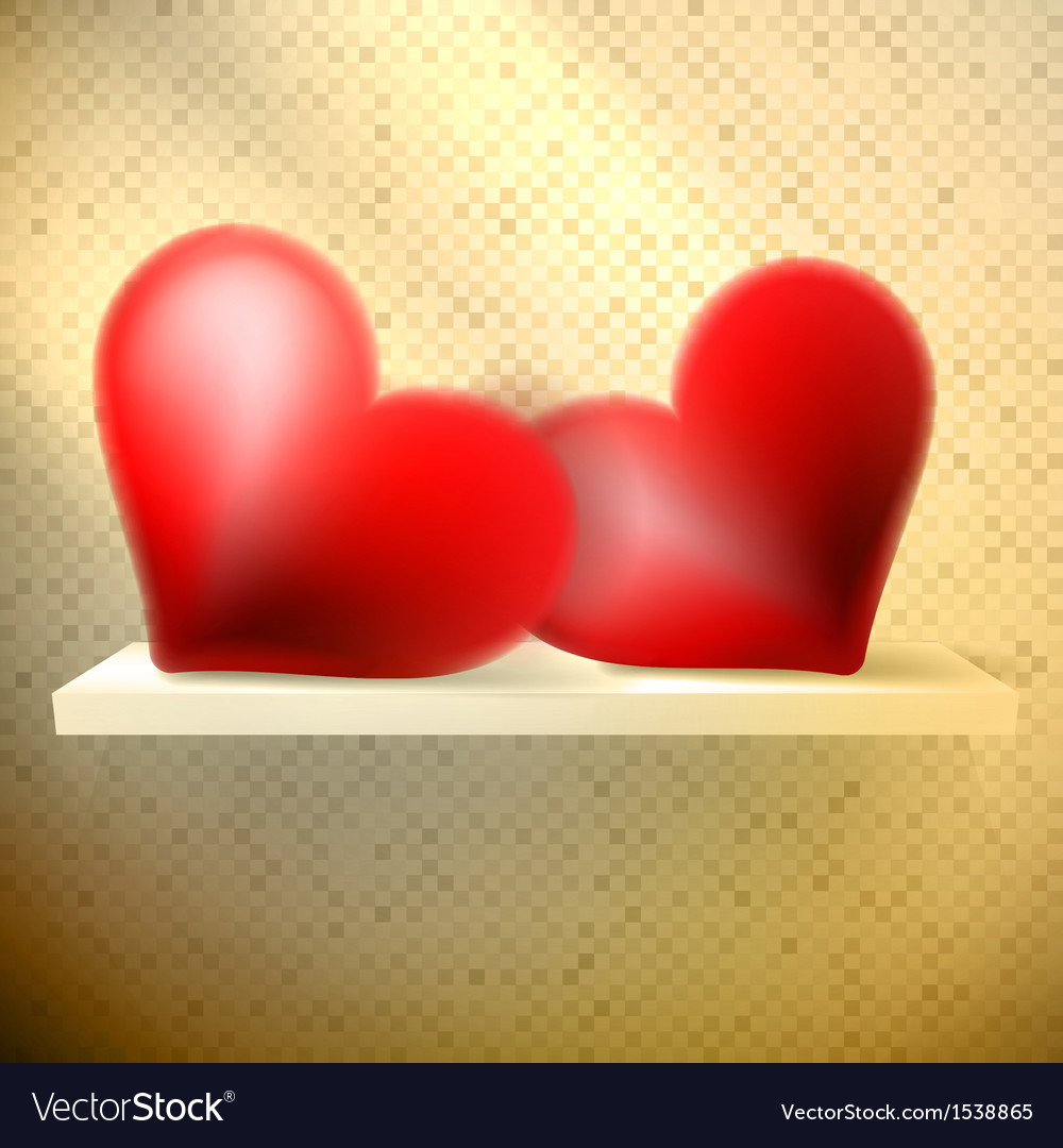 Empty shelf with red hearts vector | Price: 1 Credit (USD $1)