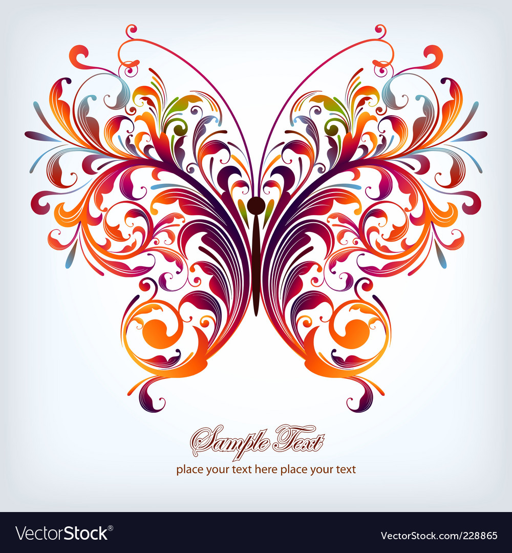 Floral butterfly vector | Price: 1 Credit (USD $1)