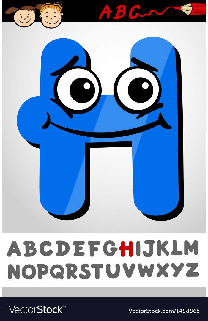 Funny letter h cartoon vector | Price: 1 Credit (USD $1)
