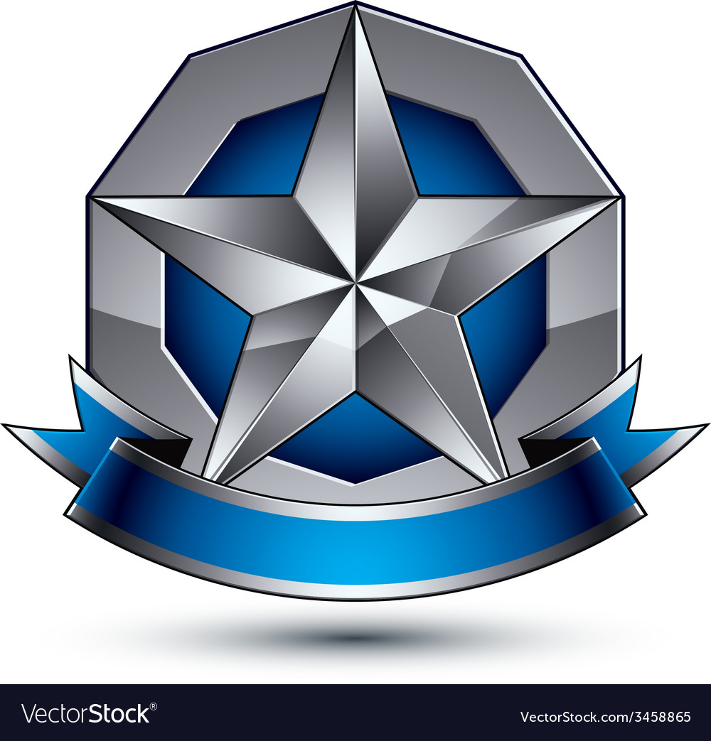 Sophisticated emblem with silver glossy star and vector | Price: 1 Credit (USD $1)
