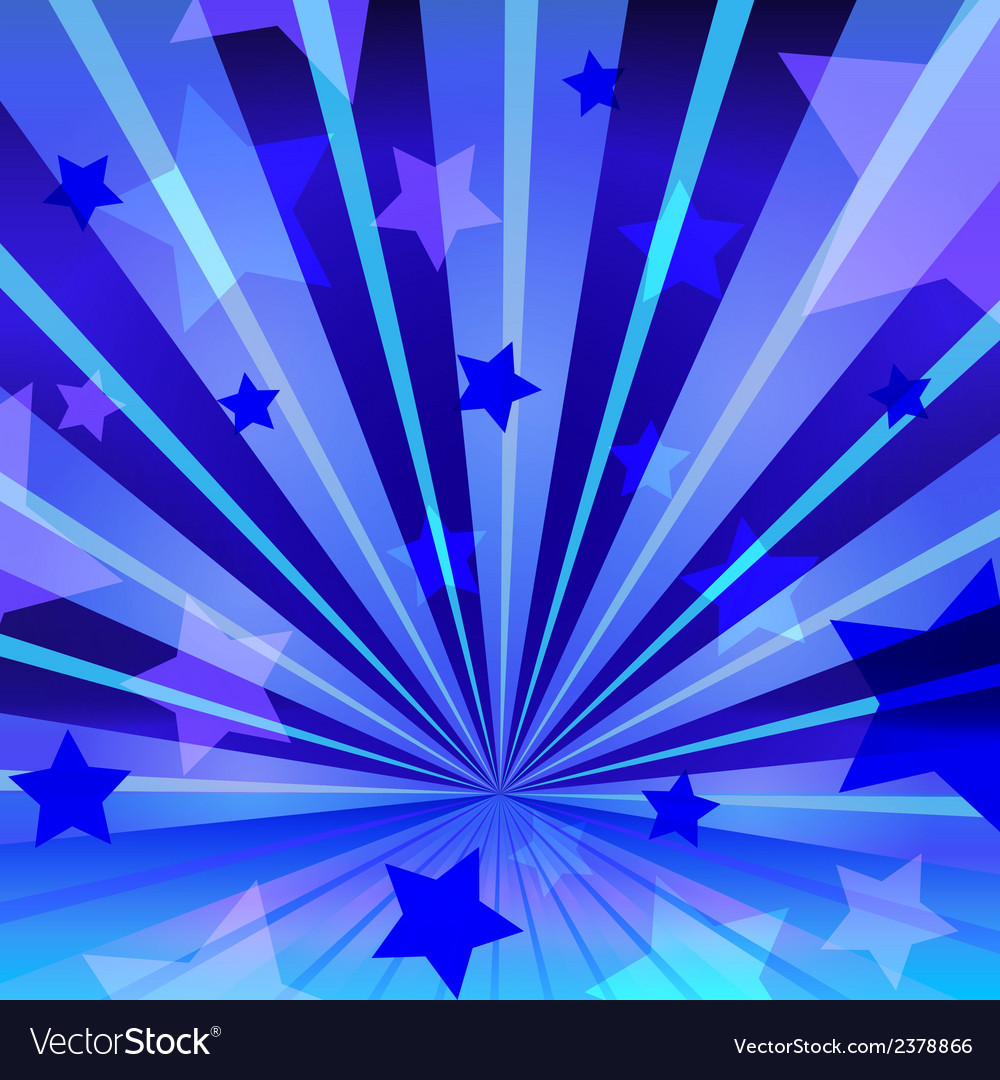 Abstract blue background with stars and radiating vector | Price: 1 Credit (USD $1)