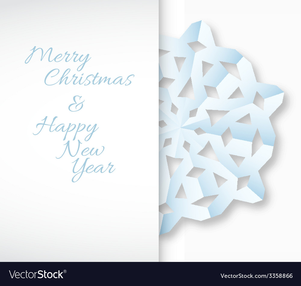Card with white paper christmas snowflake vector | Price: 1 Credit (USD $1)