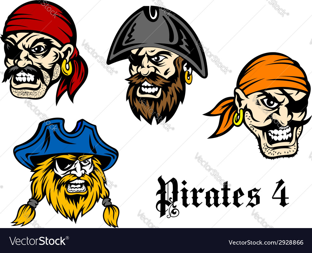 Cartoon pirates and captains vector | Price: 1 Credit (USD $1)