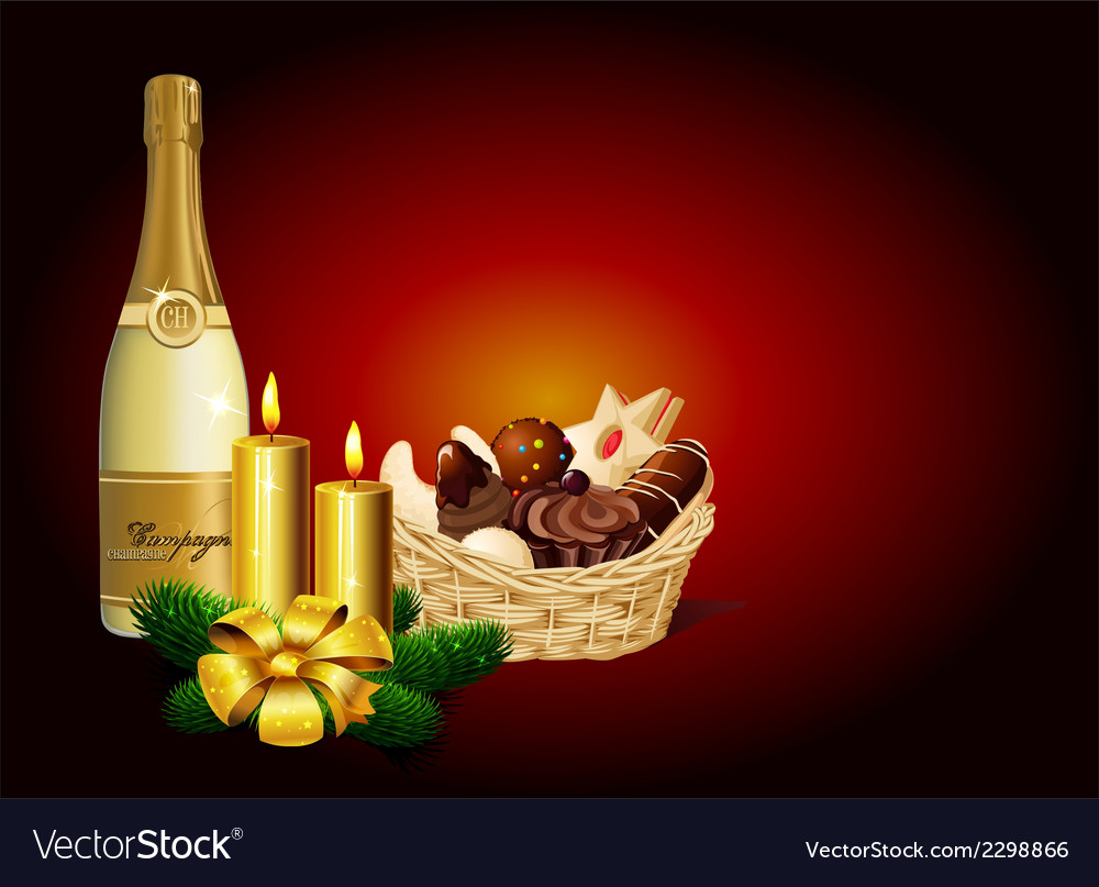 Christmas still life - christmas cookie champagne vector | Price: 1 Credit (USD $1)