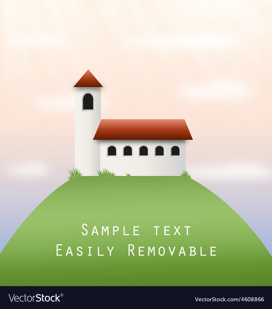Church on a hill vector | Price: 1 Credit (USD $1)