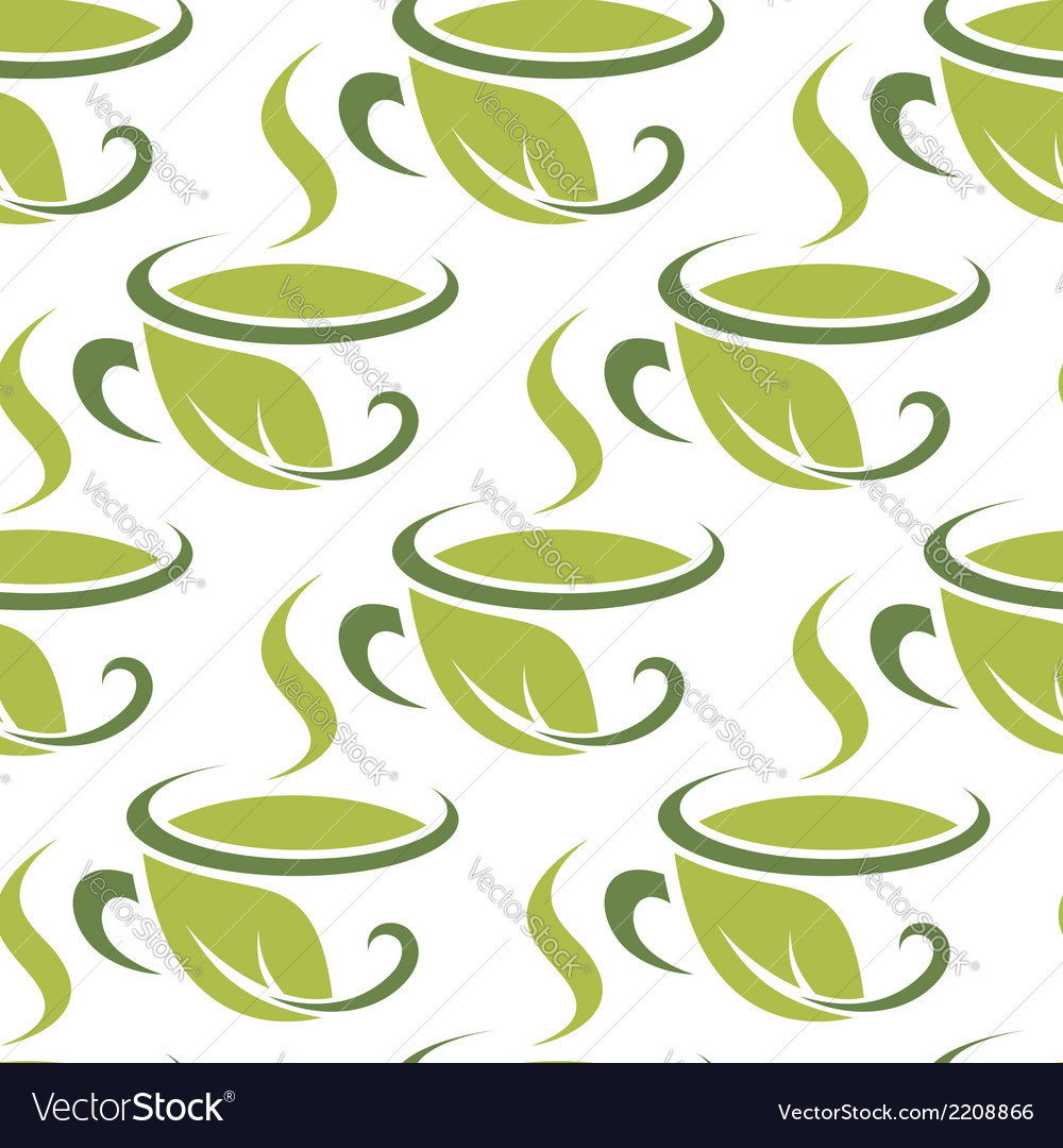 Fresh green herbal tea seamless pattern vector | Price: 1 Credit (USD $1)