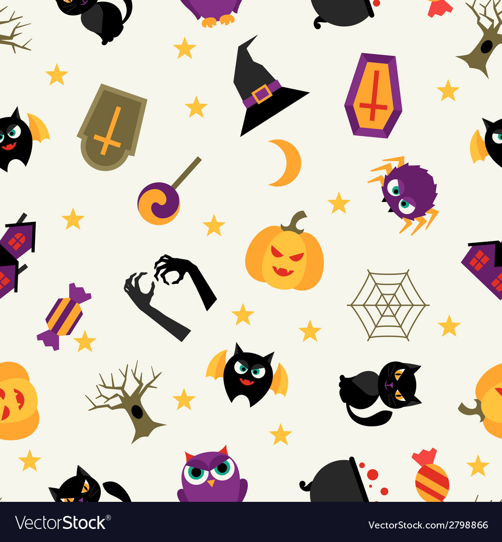Happy halloween seamless pattern with flat icons vector | Price: 1 Credit (USD $1)