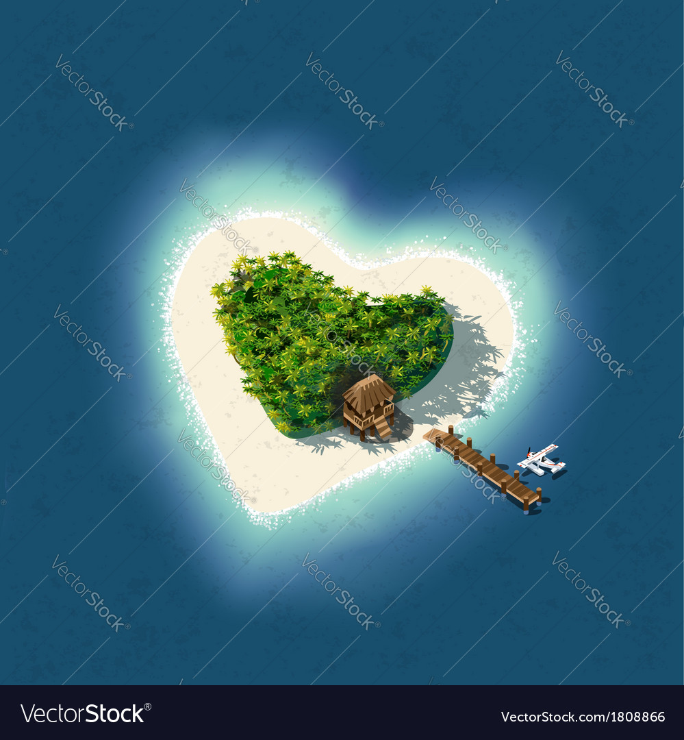 Heart shaped tropical island for romantic vacation vector | Price: 1 Credit (USD $1)
