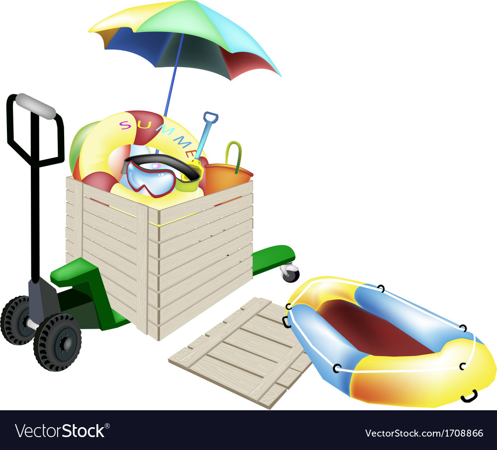 Pallet truck loading beach items in shipping box vector | Price: 1 Credit (USD $1)