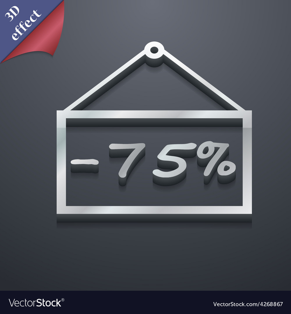 75 discount icon symbol 3d style trendy modern vector | Price: 1 Credit (USD $1)