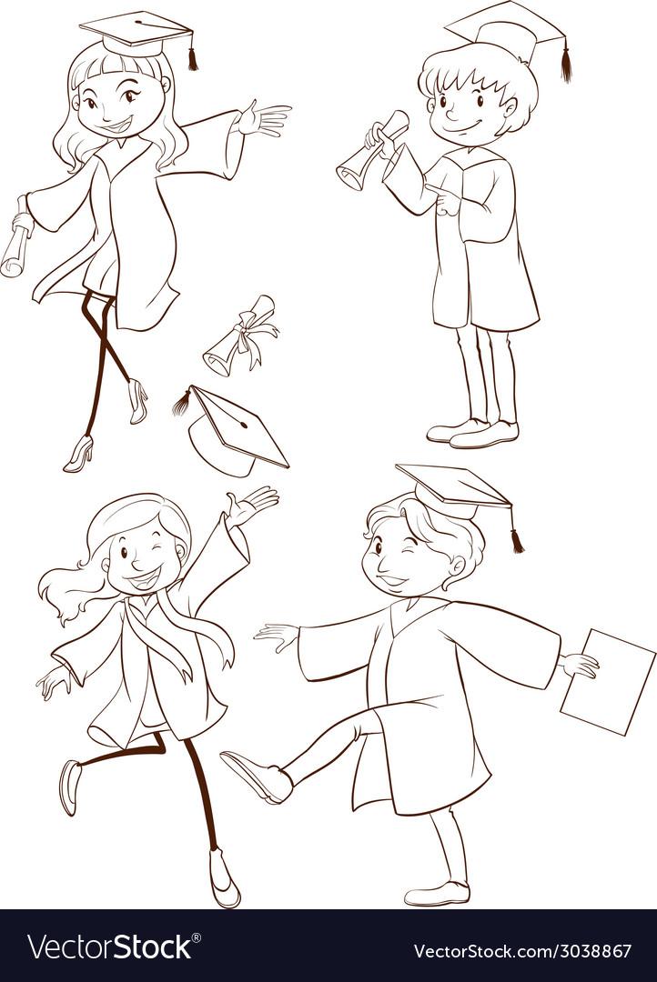 A plain sketch of a graduation ceremony vector | Price: 1 Credit (USD $1)