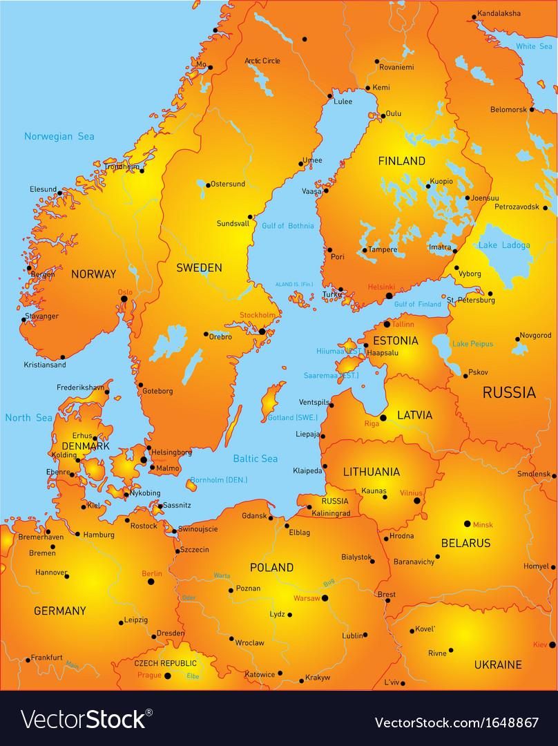 Baltic region countries vector | Price: 1 Credit (USD $1)