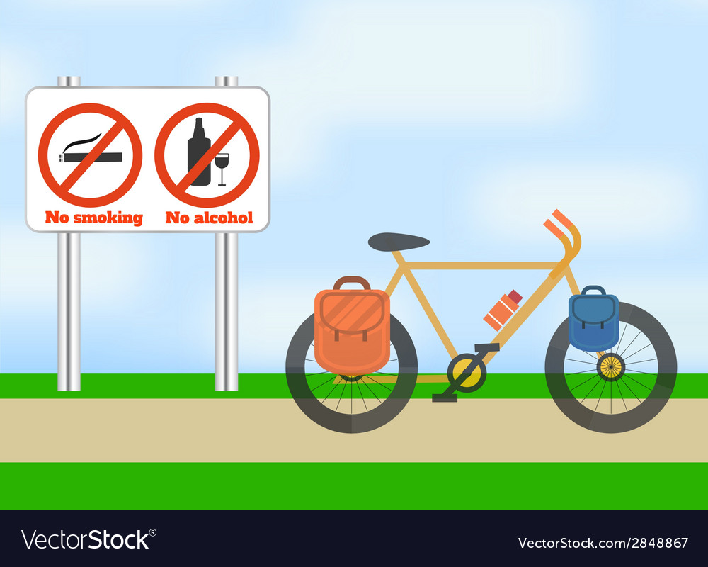 Bicycle on road bicycle tourism sport vector | Price: 1 Credit (USD $1)