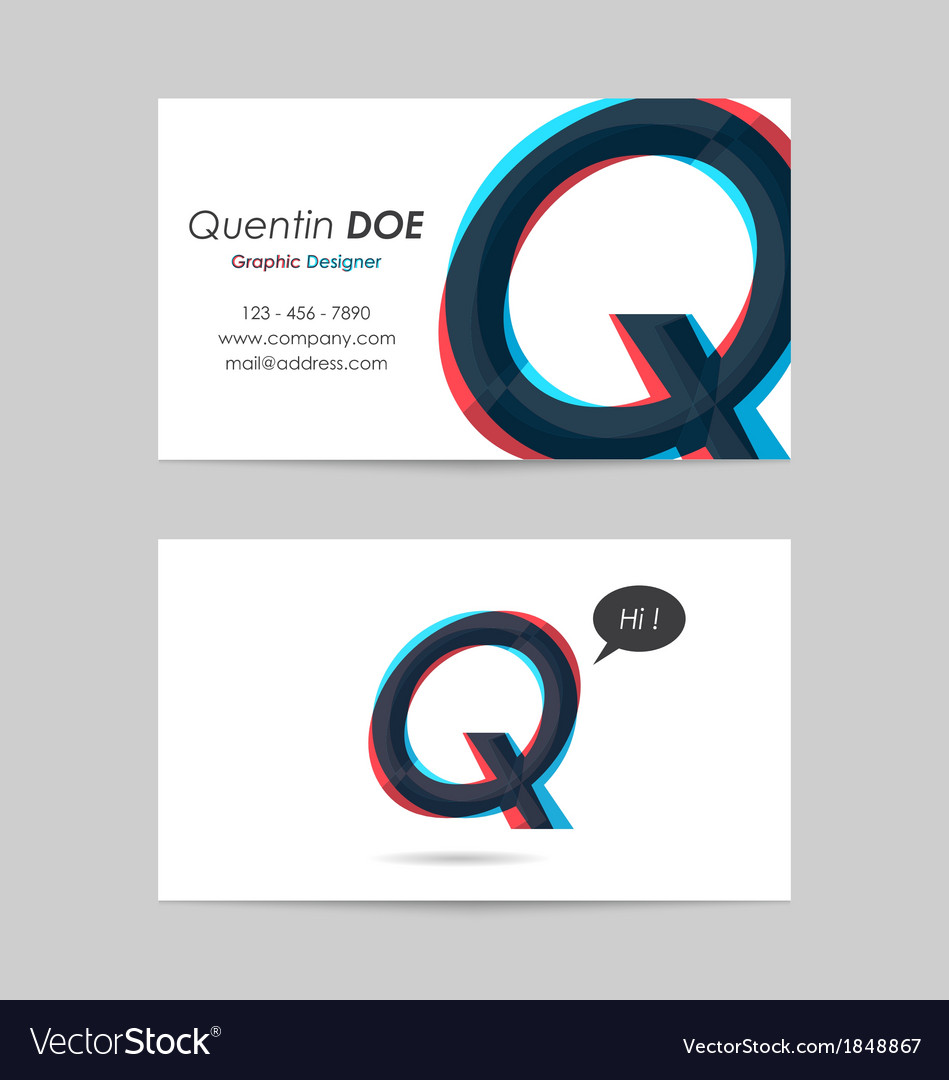 Business card template - letter q vector | Price: 1 Credit (USD $1)