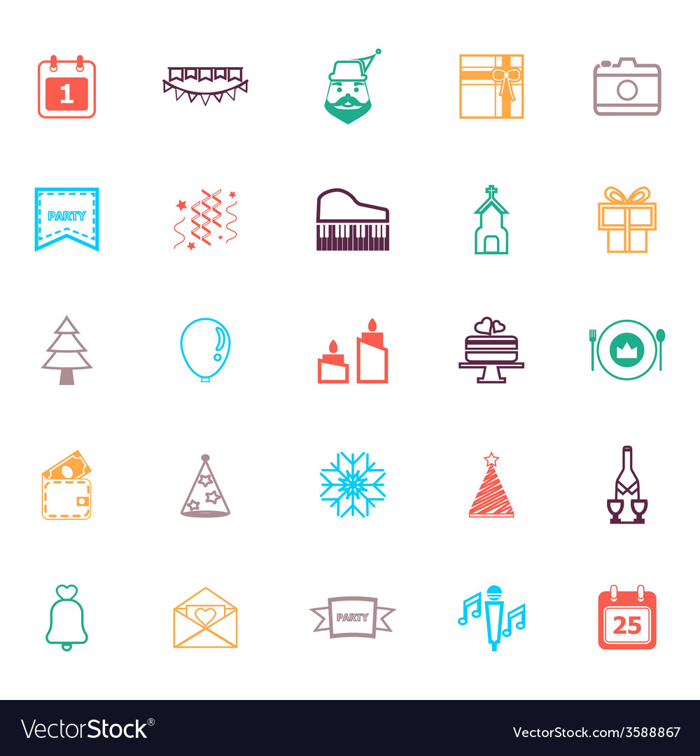 Christmas and new year line icons flat color vector | Price: 1 Credit (USD $1)