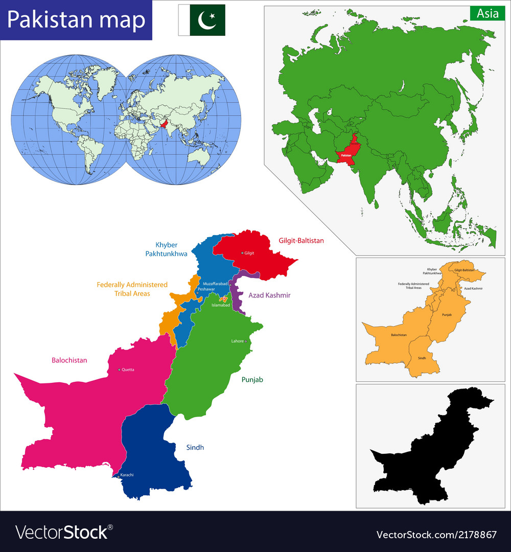 Pakistan map vector | Price: 1 Credit (USD $1)