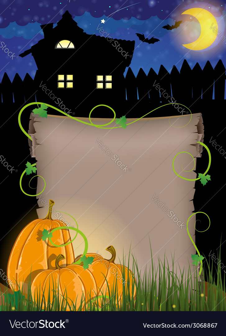 Pumpkins with parchment near the house vector | Price: 1 Credit (USD $1)