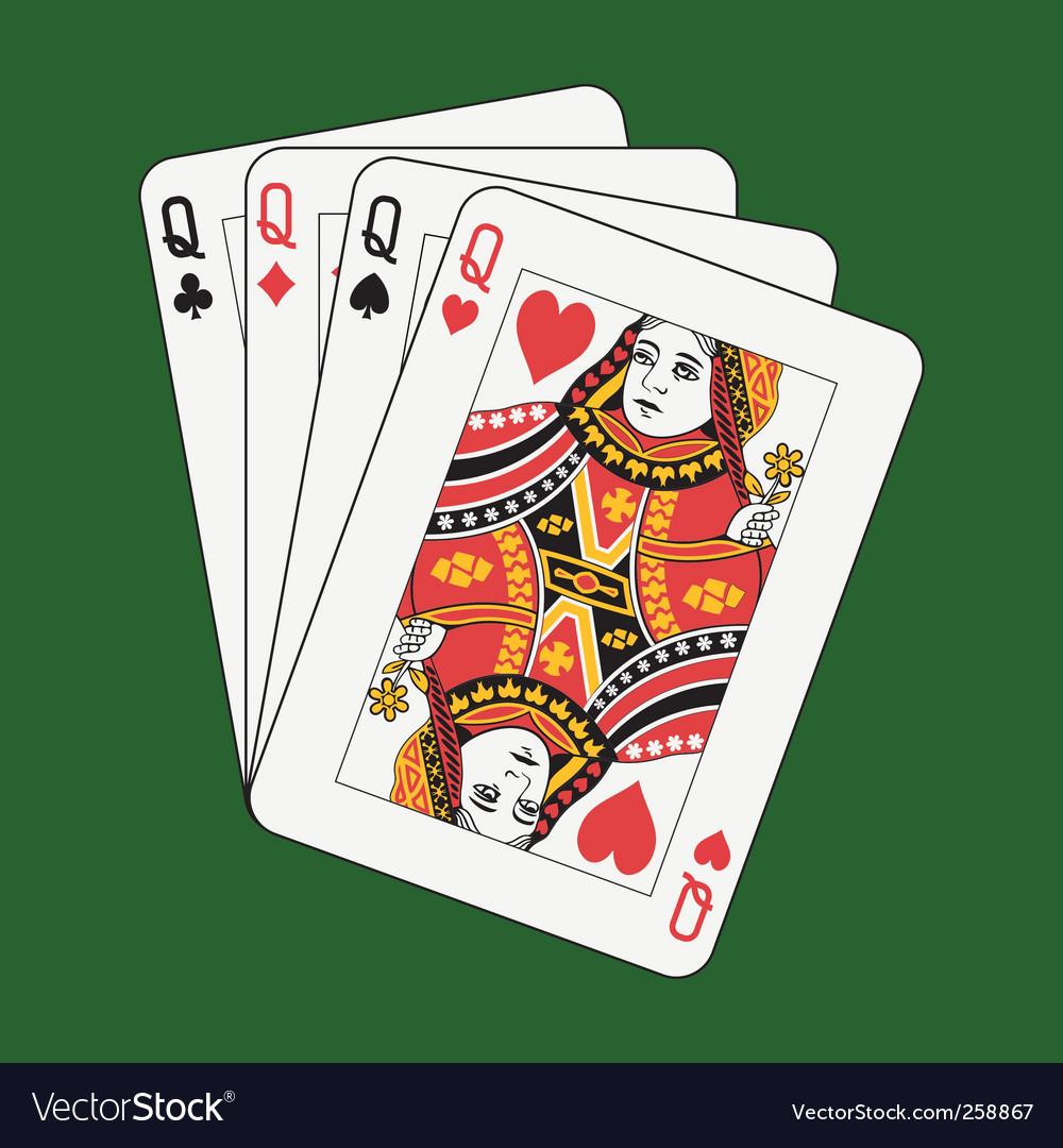Queens poker vector | Price: 1 Credit (USD $1)
